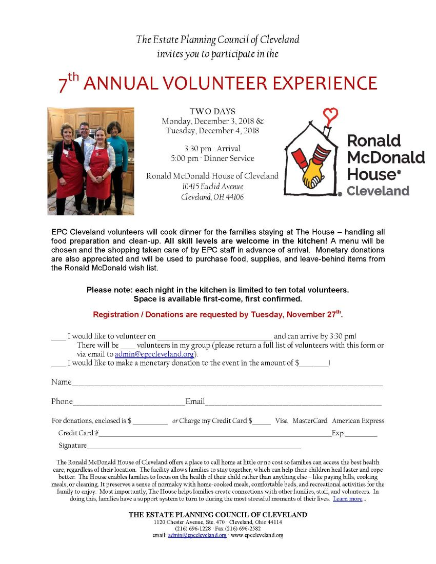 SOLD OUT! 7th Annual Volunteer Experience Serving Ronald McDonald